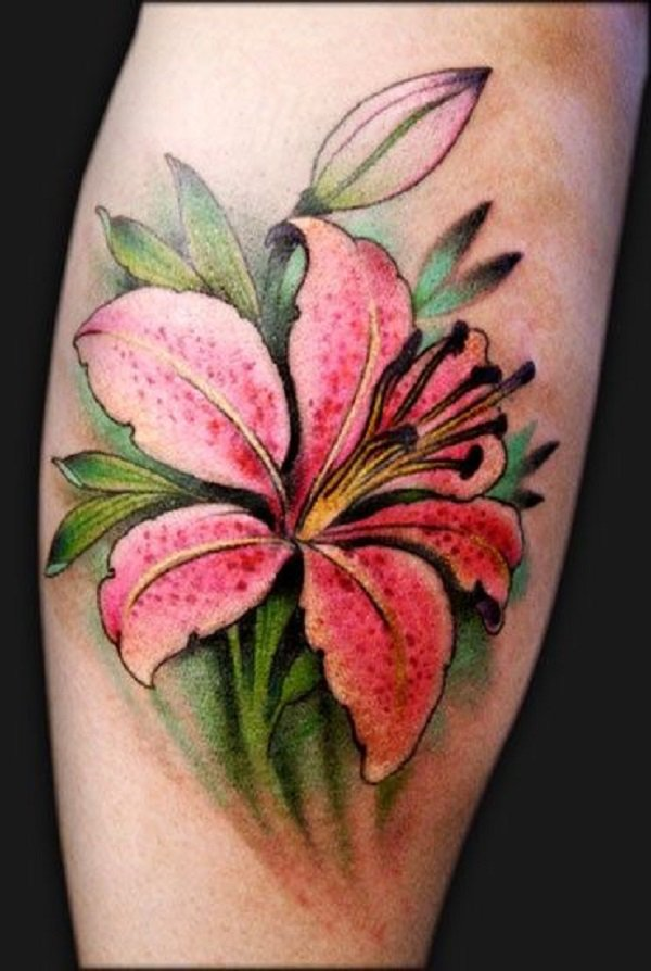 Pink Lily Flower Tattoo On Side Leg