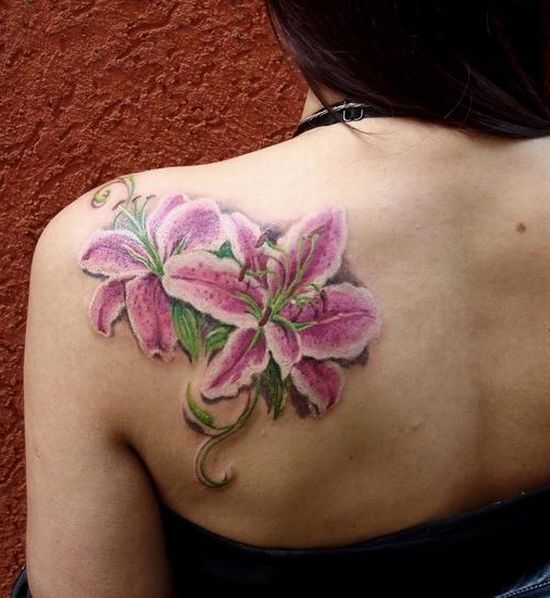 Pink Flower Tattoo: 55+ Lily Tattoos On Shoulder With Meaning