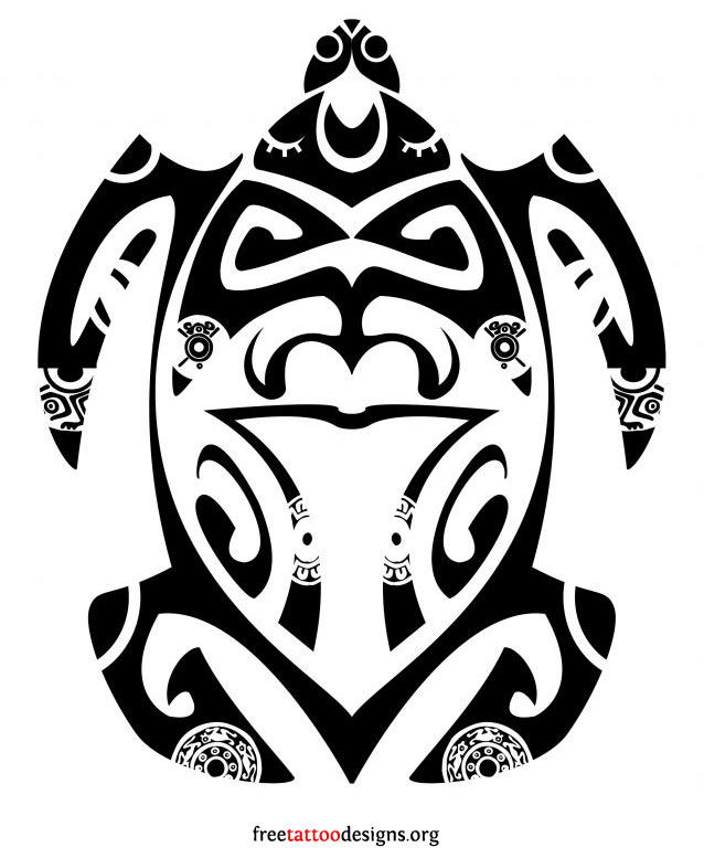 Outline Of Polonisian Sleeve: Polynesian Black Outline Turtle Tattoo Design