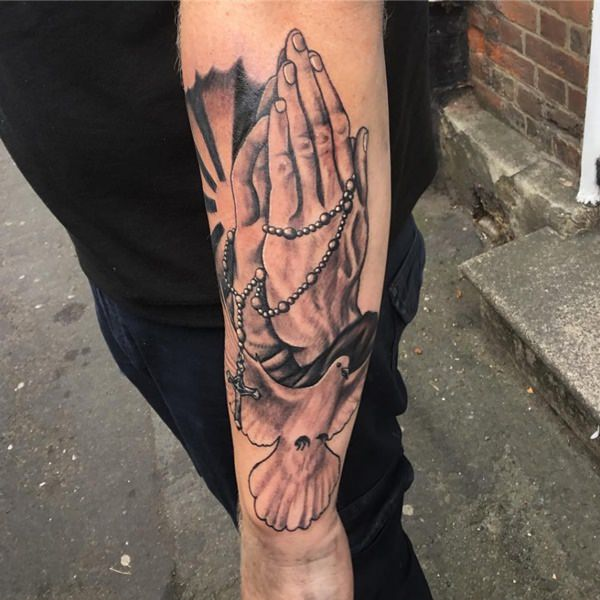 4954b6483 Praying Hands And Dove Tattoo On Arm Sleeve