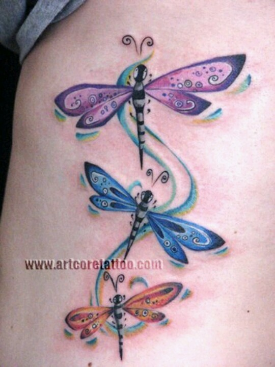 purple and blue dragonfly tattoos on side rib. Black Bedroom Furniture Sets. Home Design Ideas