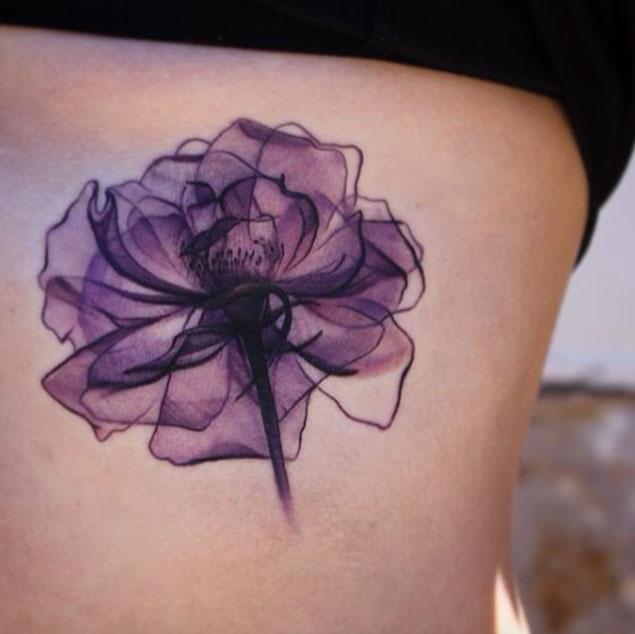 b3330c14375ac Purple Flower Tattoo On Side Rib