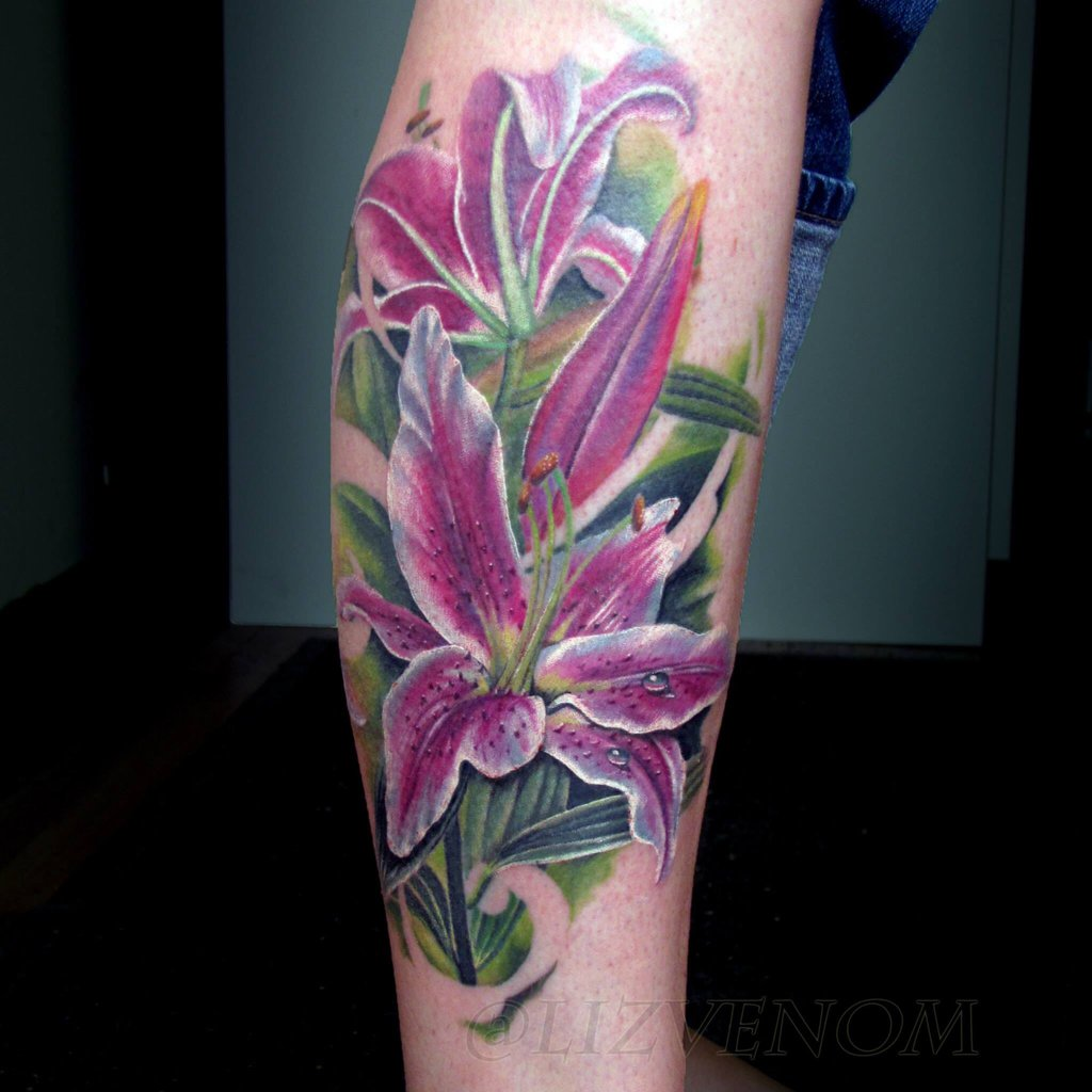 Image result for purple lily tattoo