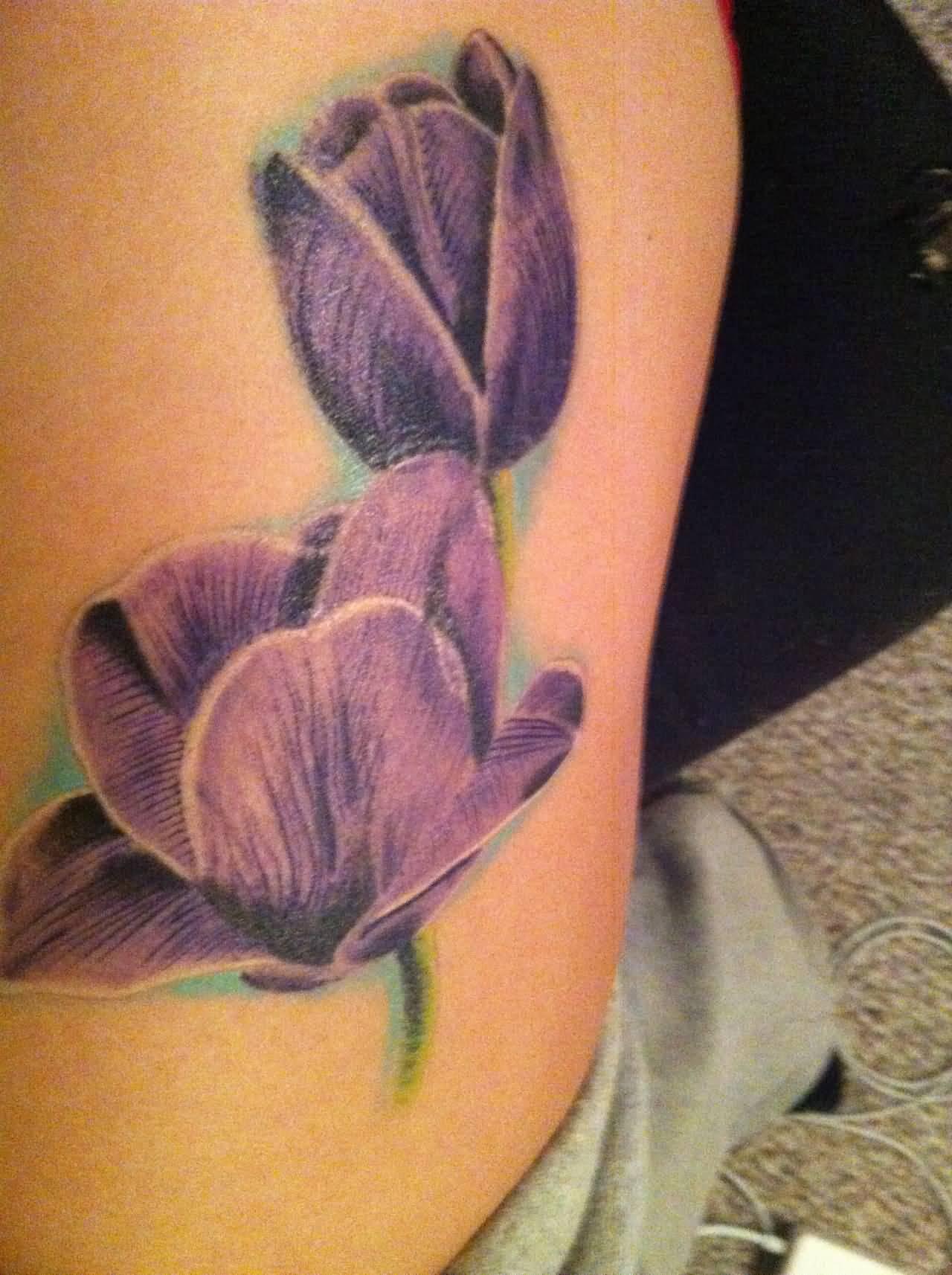 Purple tulip flowers tattoo on side rib for Flower side tattoo
