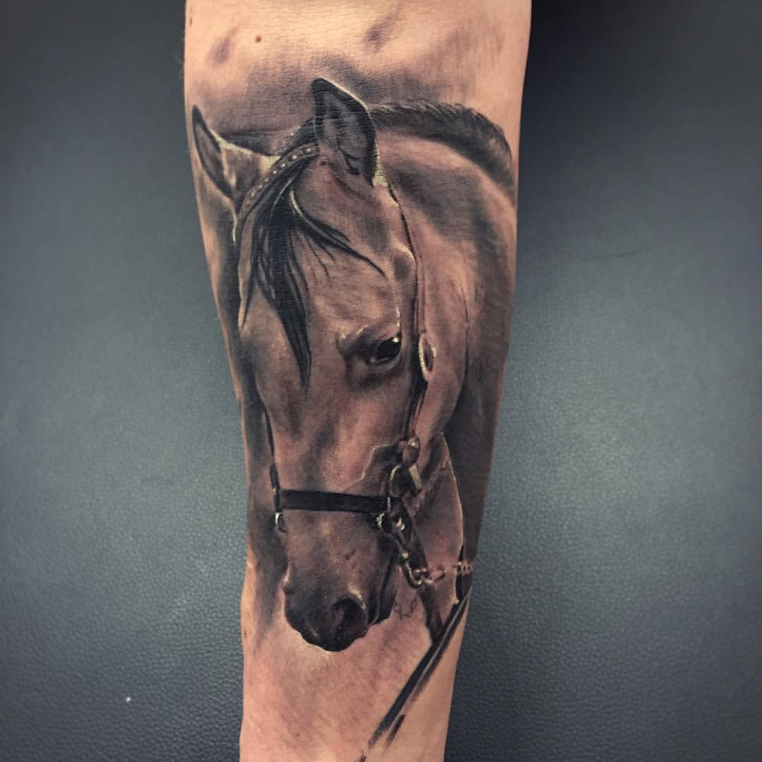 b519bbfd9 Realistic 3D Horse Head Tattoo On Forearm