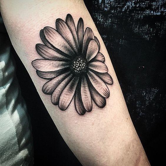 858ff0beeb27b Realistic Grey And Black Ink Daisy Tattoo On Forearm