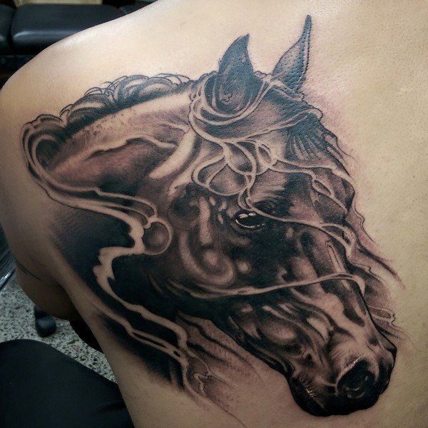 015d8ebd6 Realistic Grey And Black Running Horse Tattoo On Left Back Shoulder