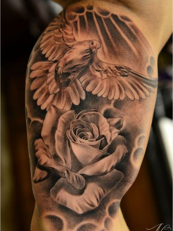 ff2bf5288 Realistic Rose Flower And Flying Dove Tattoo On Right Half Sleeve