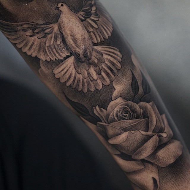 2eaf347b2c22d Realistic Rose Flower And Flying Dove Tattoos On Arm Sleeve