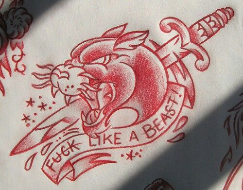 Red Dagger And Traditional Panther Tattoo Design