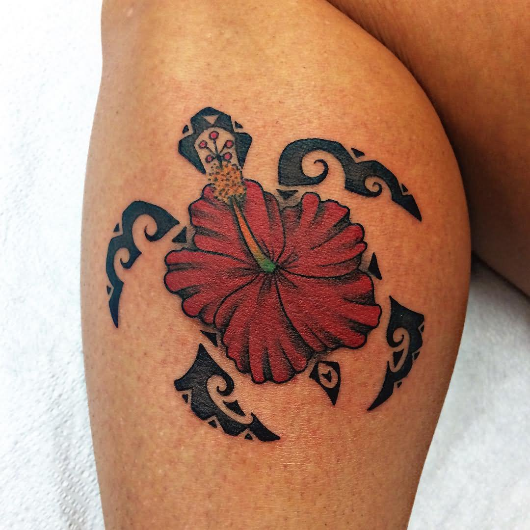 Red Hawaiian Flower And Polynesian Sea Turtle Tattoo On Leg
