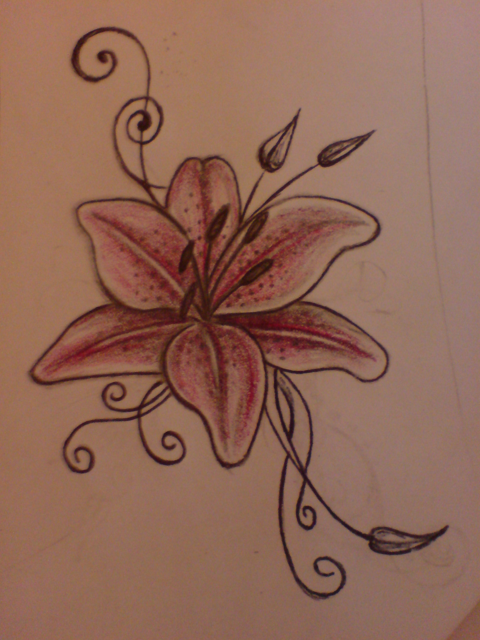 Red Lily Flower Tattoo Design