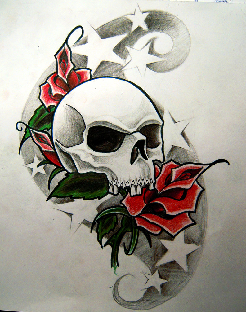 red roses with skull and stars tattoo design. Black Bedroom Furniture Sets. Home Design Ideas