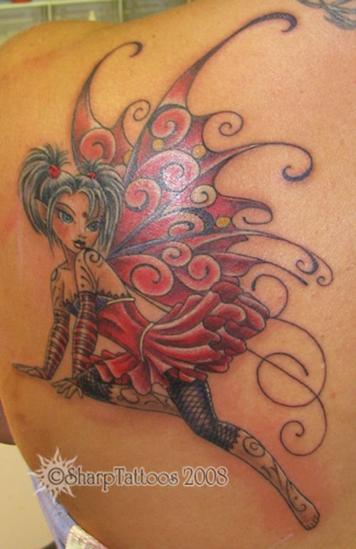 Red ink Gothic Dragonfly Fairy Tattoo On Left Back Shoulder