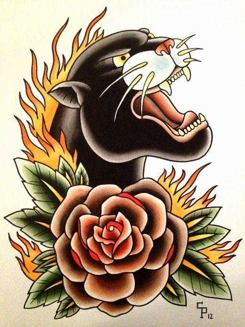 rose flower and traditional panther tattoo design. Black Bedroom Furniture Sets. Home Design Ideas