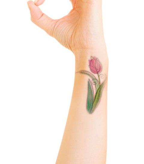 e2618c76f Side Wrist Watercolor Tulip Flower Tattoo