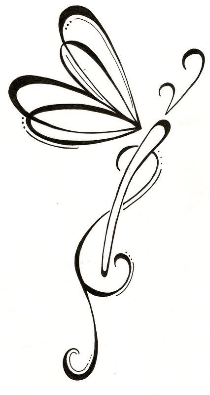 Simple Outline Dragonfly Tattoo Design