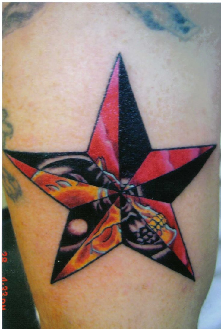 Skull in nautical star tattoo idea for Nautical star tattoo design