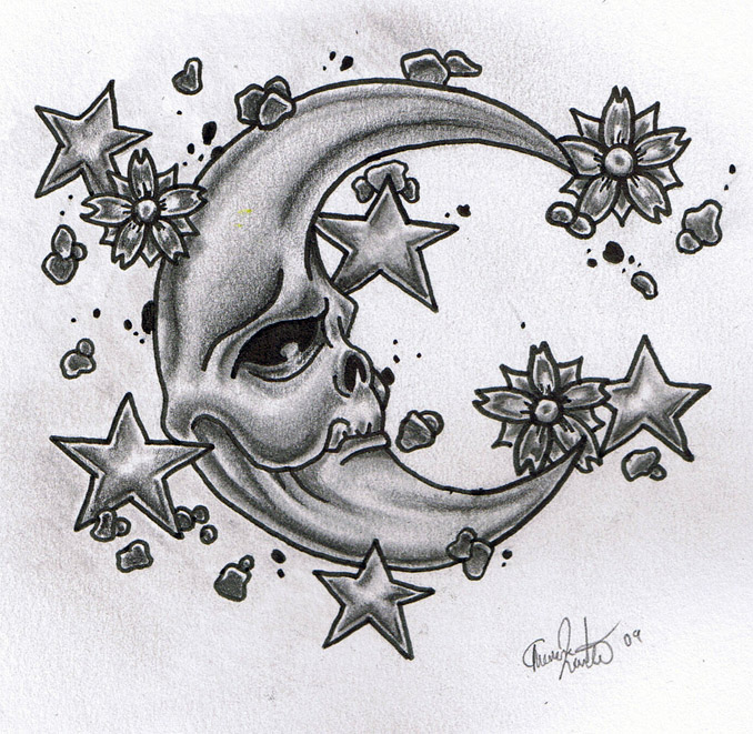 Skull Moon And Stars Tattoo Design