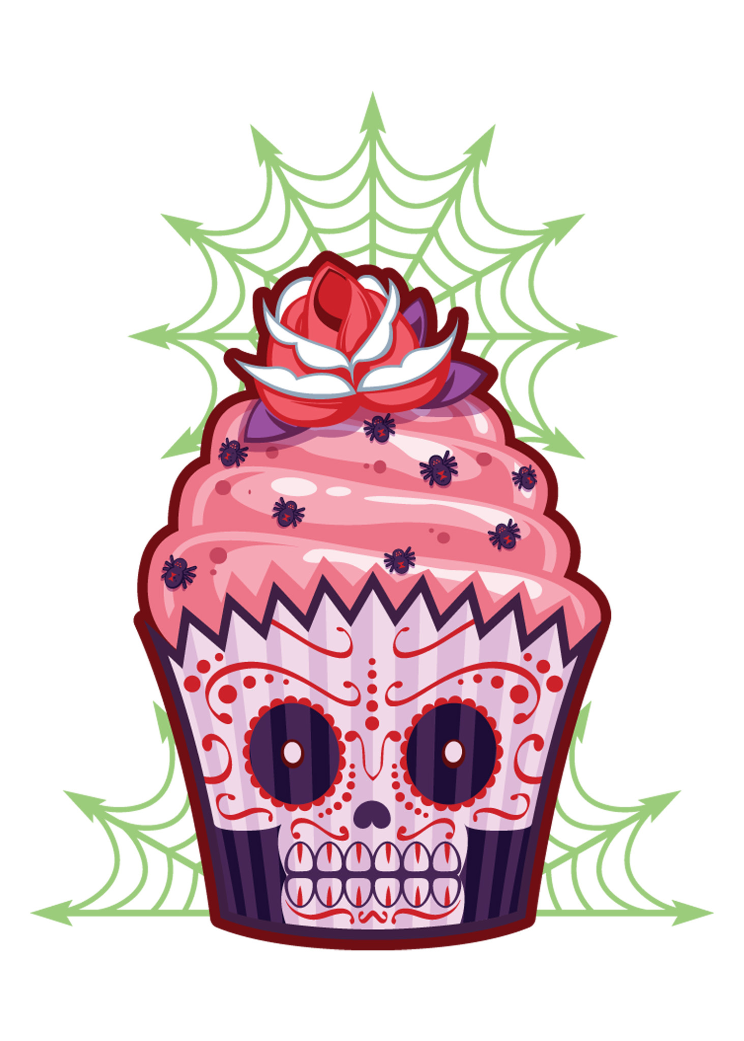 54 sugar skull cupcake tattoos ideas with meaning spider web and sugar skull cupcake tattoo design biocorpaavc Images
