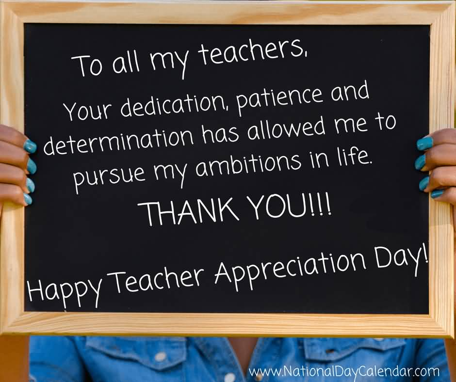 To All My Teachers Happy Teacher Day Blackboard Holding With Hands