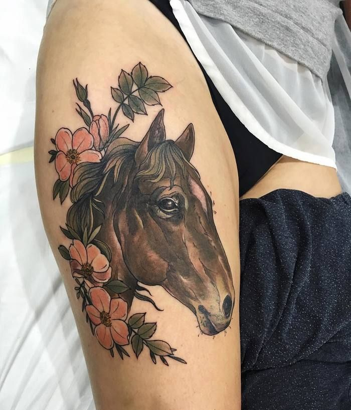 traditional flowers and horse head tattoo on thigh. Black Bedroom Furniture Sets. Home Design Ideas