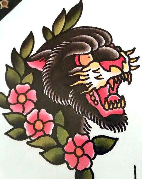 traditional flowers and panther head tattoo design. Black Bedroom Furniture Sets. Home Design Ideas