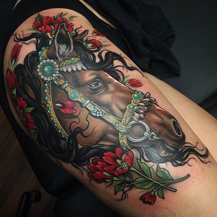 814c130ea Traditional Horse Head Tattoo On Side Thigh