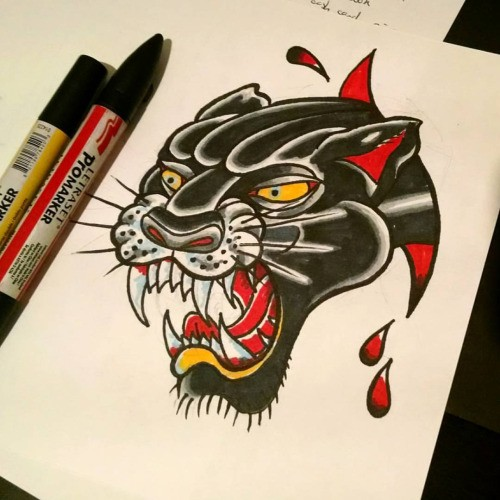 Traditional Red And Black Panther Head Tattoo Design