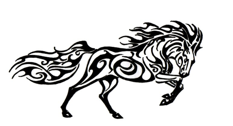 tribal outline running horse tattoo design sample. Black Bedroom Furniture Sets. Home Design Ideas