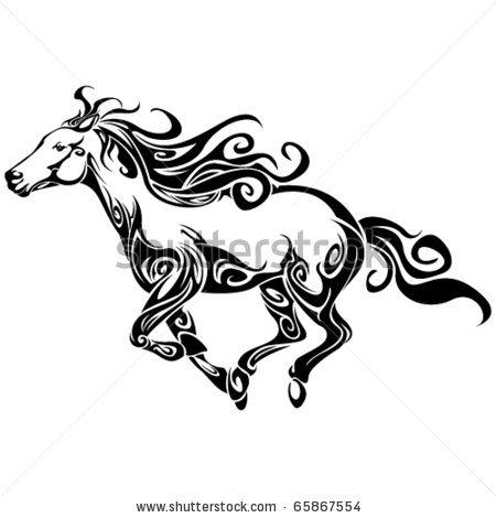 Tribal Outline Running Horse Tattoos Design