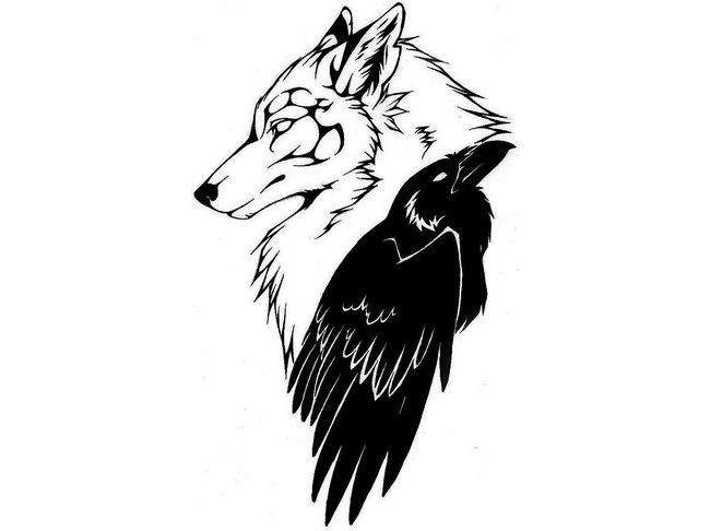 tribal outline wolf head and black raven tattoo design