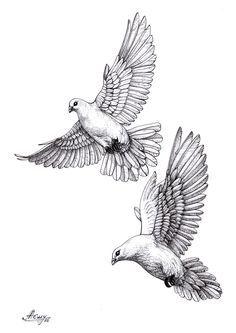 two flying dove tattoos design. Black Bedroom Furniture Sets. Home Design Ideas