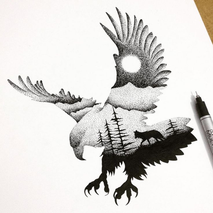 Walking Wolf In Flying Raven Tattoo Design
