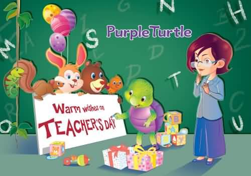 Warm Wishes On Teacher's Day Animals With Teacher