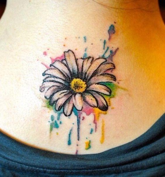Watercolor Daisy Tattoo: Watercolor Daisy Flower Tattoo On Upper Back
