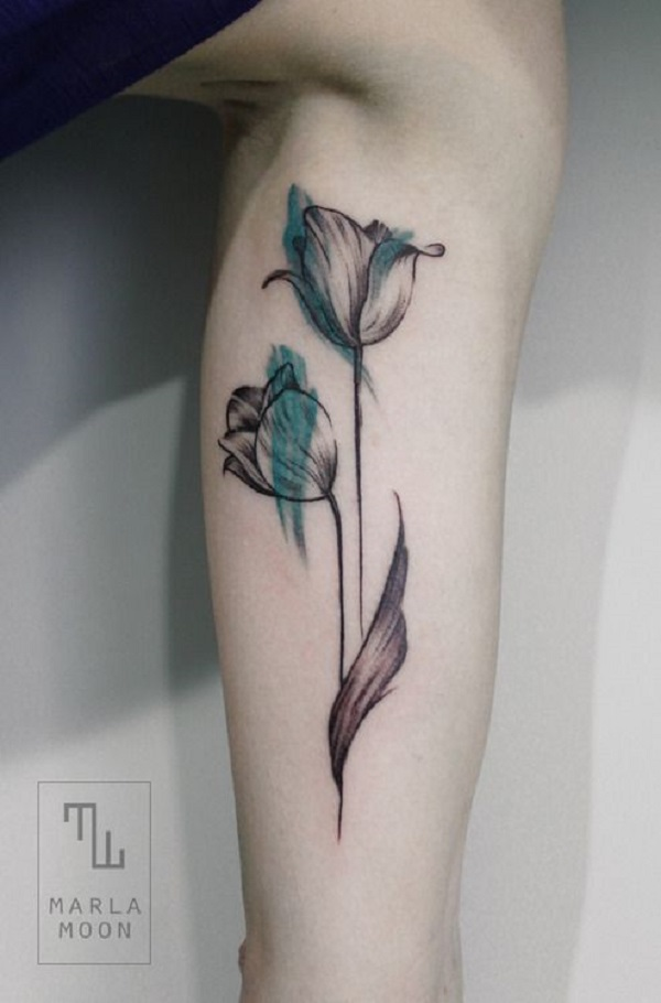 3e999442d Watercolor Tulip Flowers Tattoos On Sleeve by Marla Moon