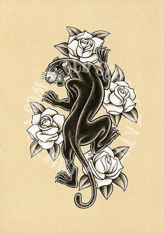 White roses and black traditional panther tattoo design for Traditional panther tattoo