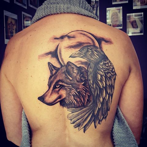 Wolf Head And Raven With Moon Tattoo On Back
