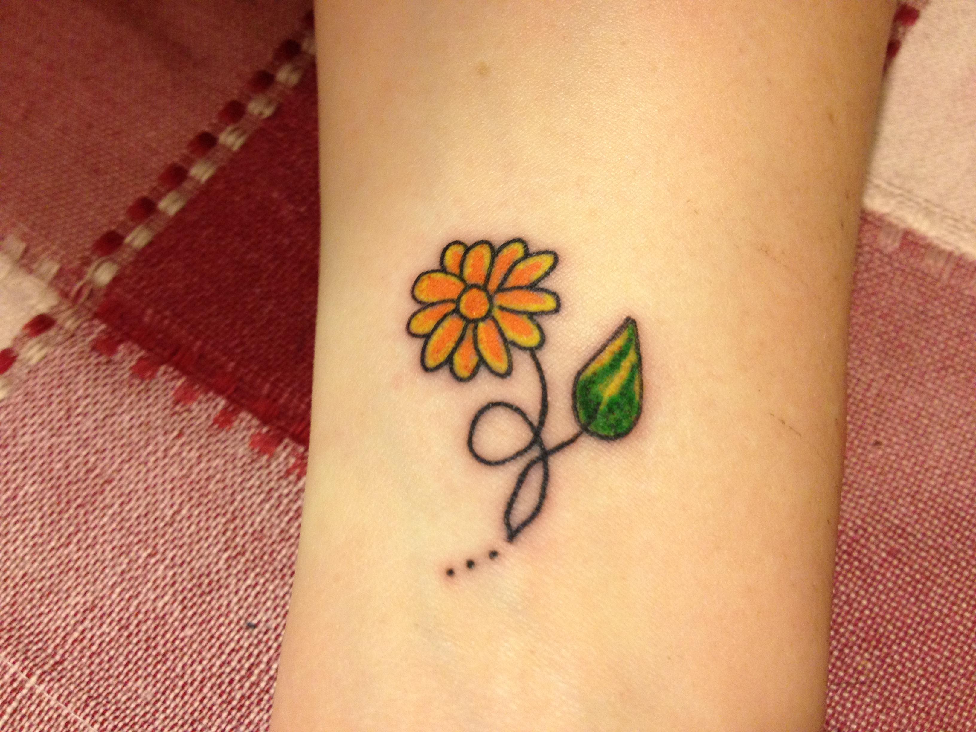 Yellow daisy flower tattoo on wrist mightylinksfo