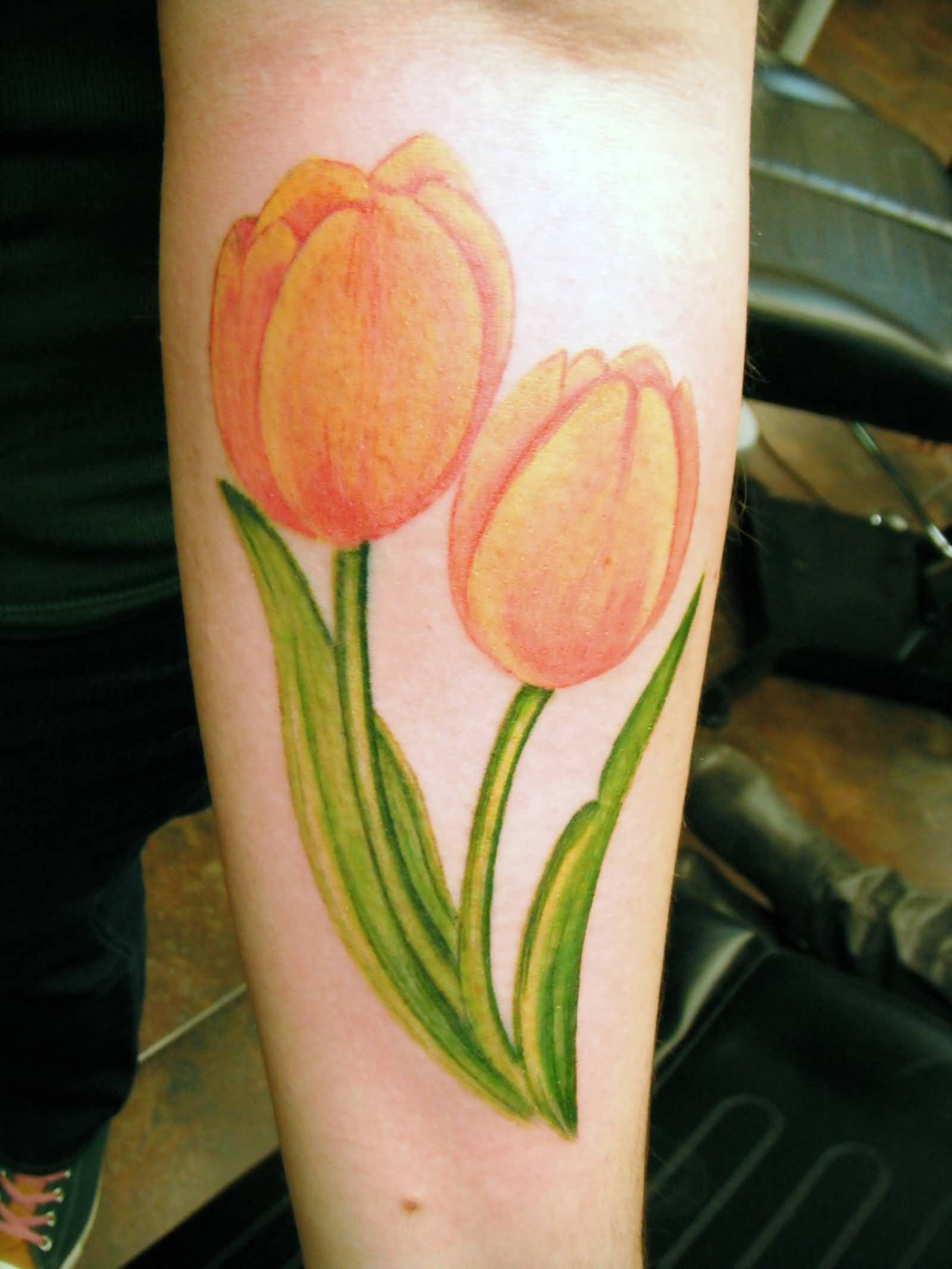 d9e6f52a7 Yellow Ink Tulip Flowers Tattoo On Left Forearm