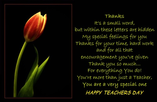 You Are A Very Special One Happy Teacher's Day Tulip Flower