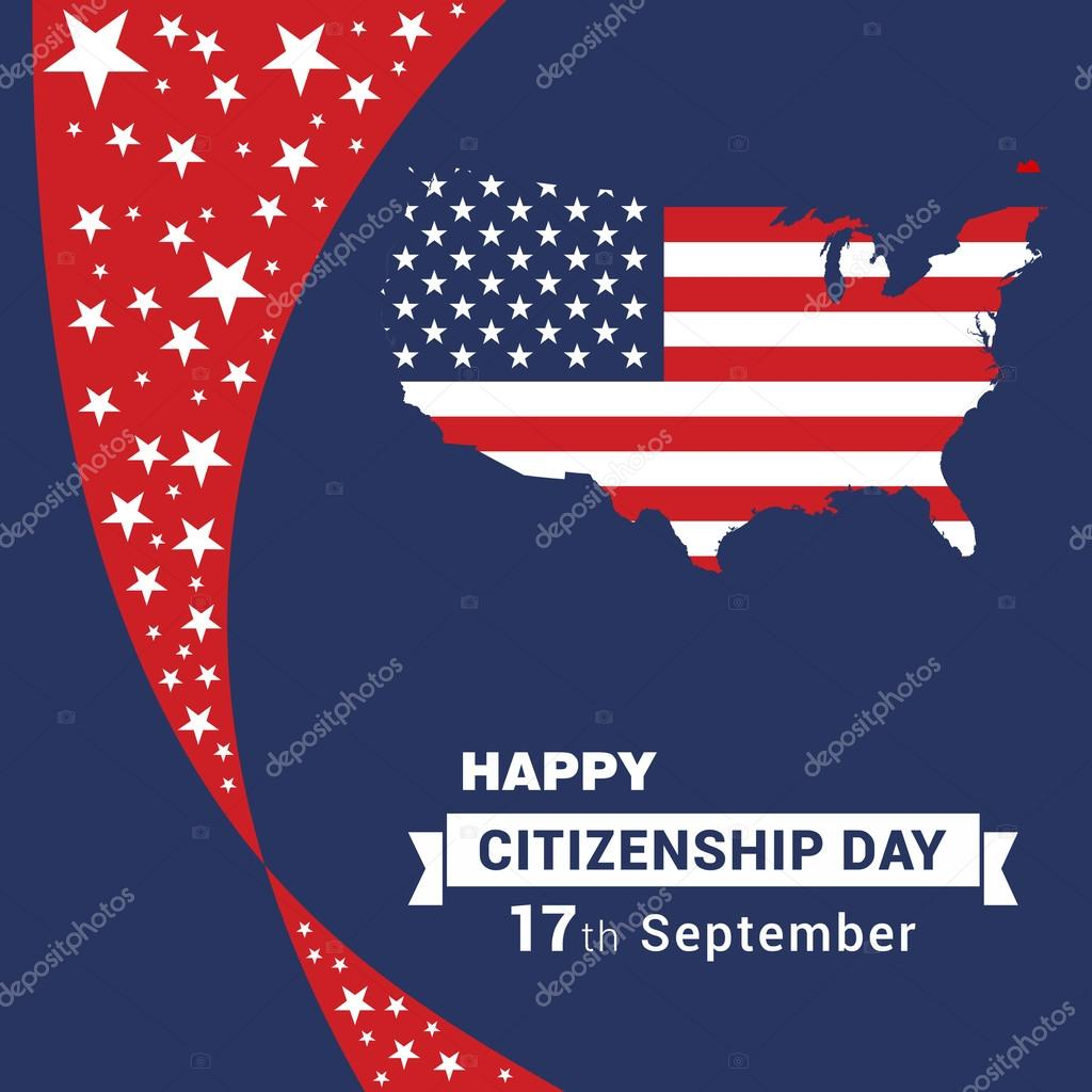 Happy Citizenship Day 17th September American Map Illustration