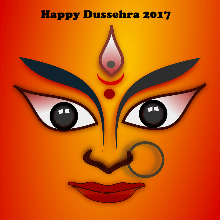 Happy dussehra 2017 goddess durga face greeting card m4hsunfo
