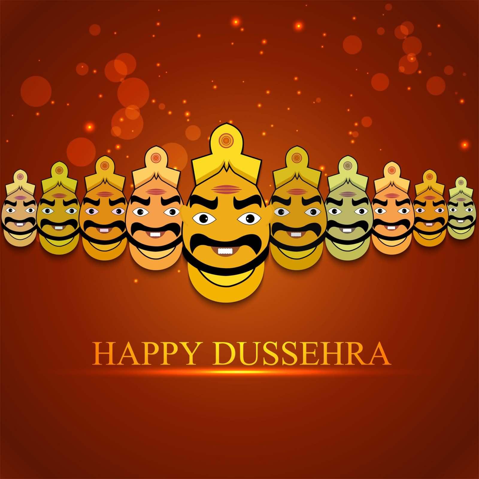 Happy Dussehra Ravana Funny Faces Greeting Card