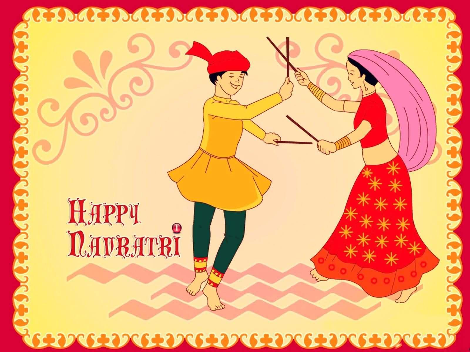 happy navratri couple playing dandiya illustration