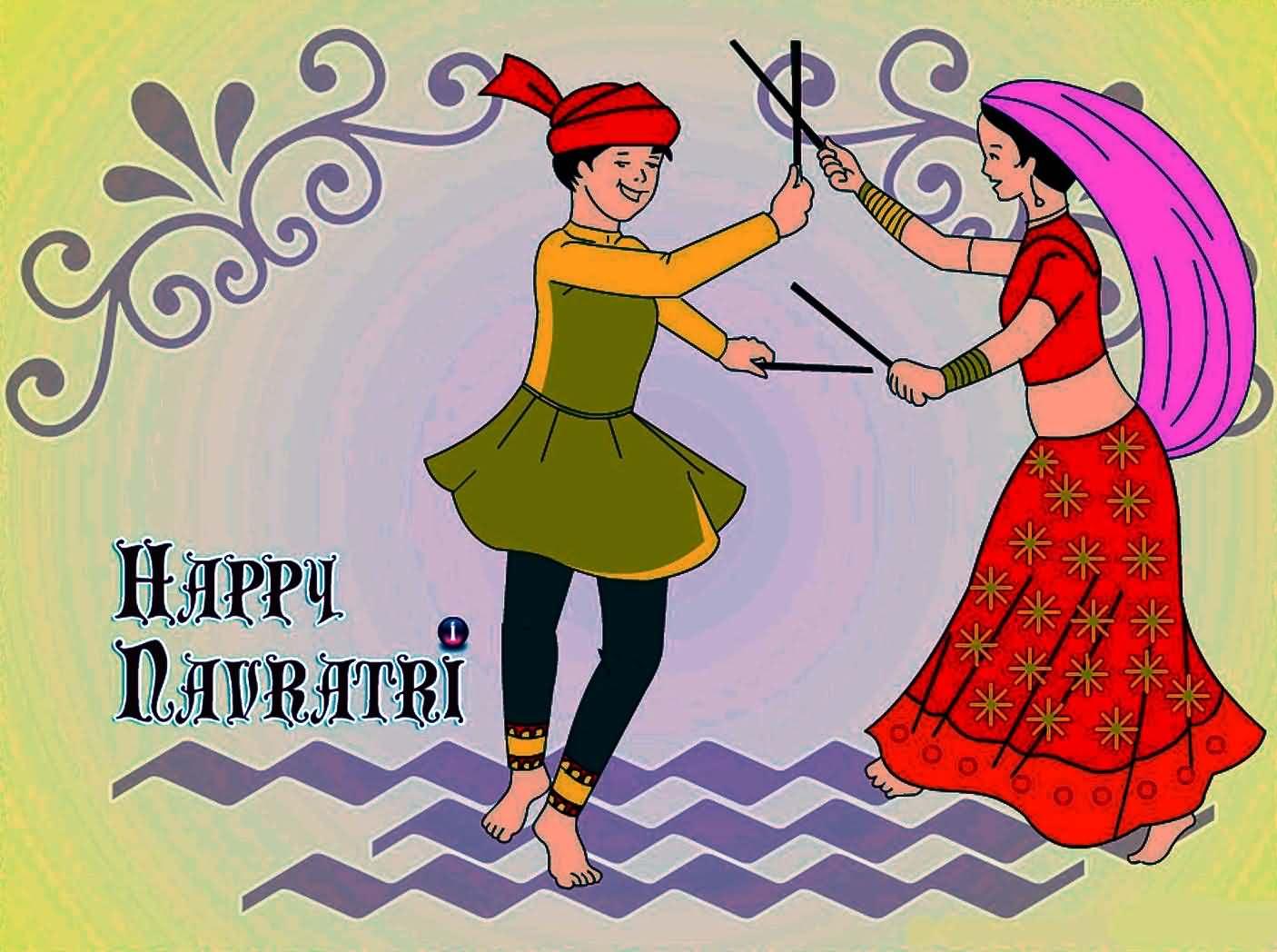 happy navratri dandiya playing couple