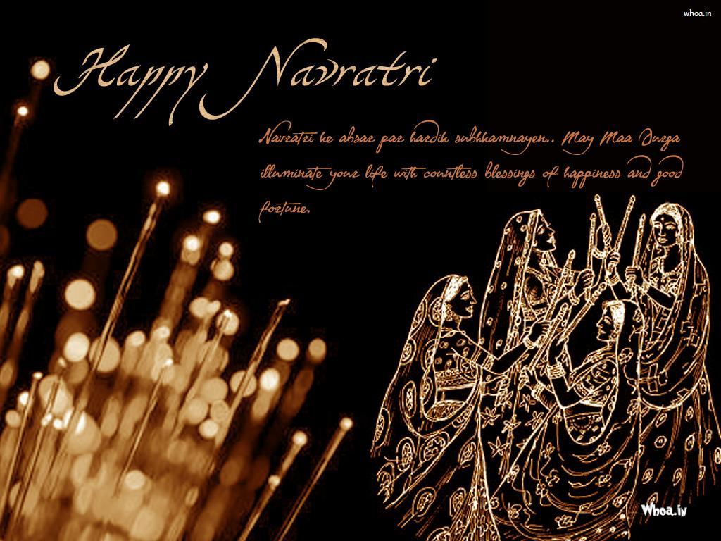 happy navratri women playing dandiya picture