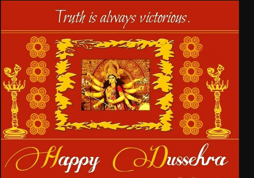 Truth is always victorious happy dussehra greeting card m4hsunfo