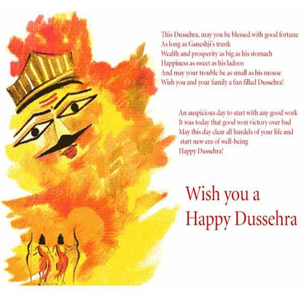 Wish you a happy dussehra greeting card m4hsunfo